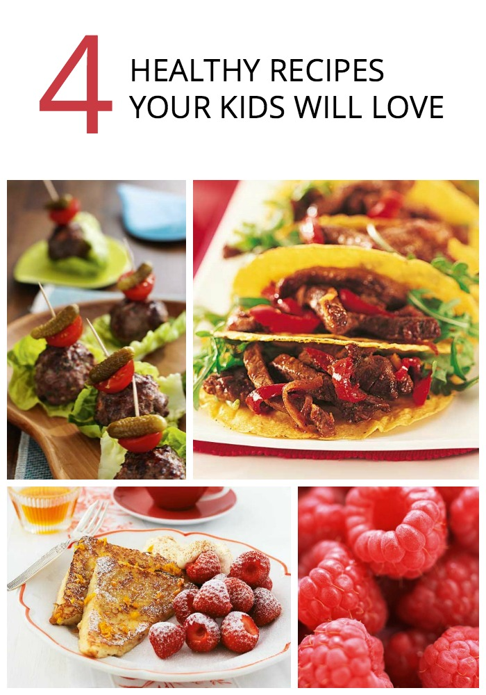 Check out these four quick, healthy recipes for kids, including: French Toast with Strawberries Quick Tex-Mex Tacos Bacon and Beef Sliders Raspberry and Custard Ice Cream.