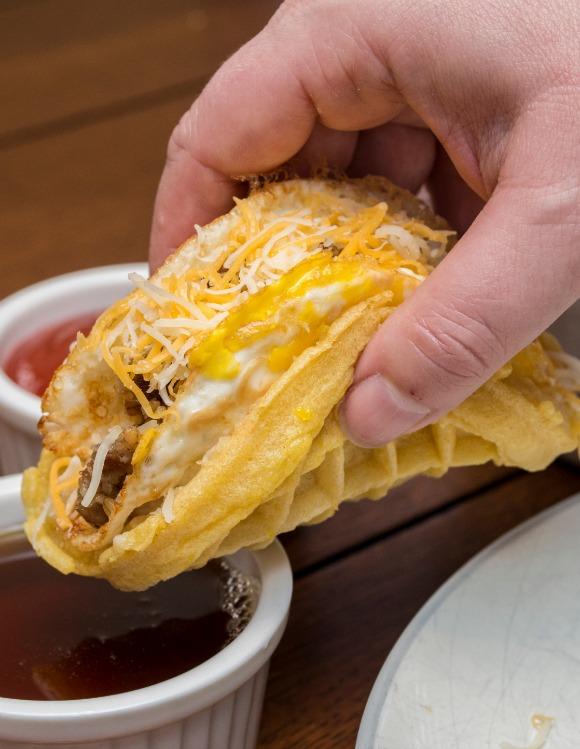 Enjoy a fun breakfast with the fam this weekend and cook up these easy, yummy Waffle Tacos, with Cincinnati favorites like goetta and Skyline Chili cheese.