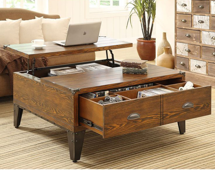 Add furniture that does double duty such as a coffee table that also serves as a storage chest to contain items in the room where they're used.