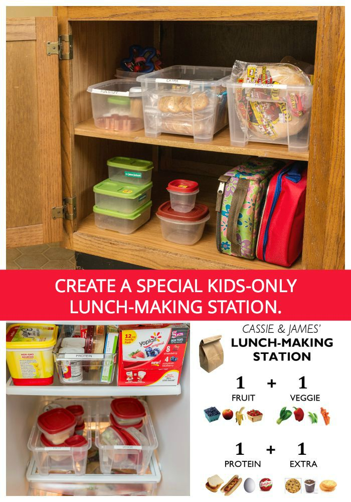 Free printable: Click to download, personalize, and print a sign for your own lunch-making station.