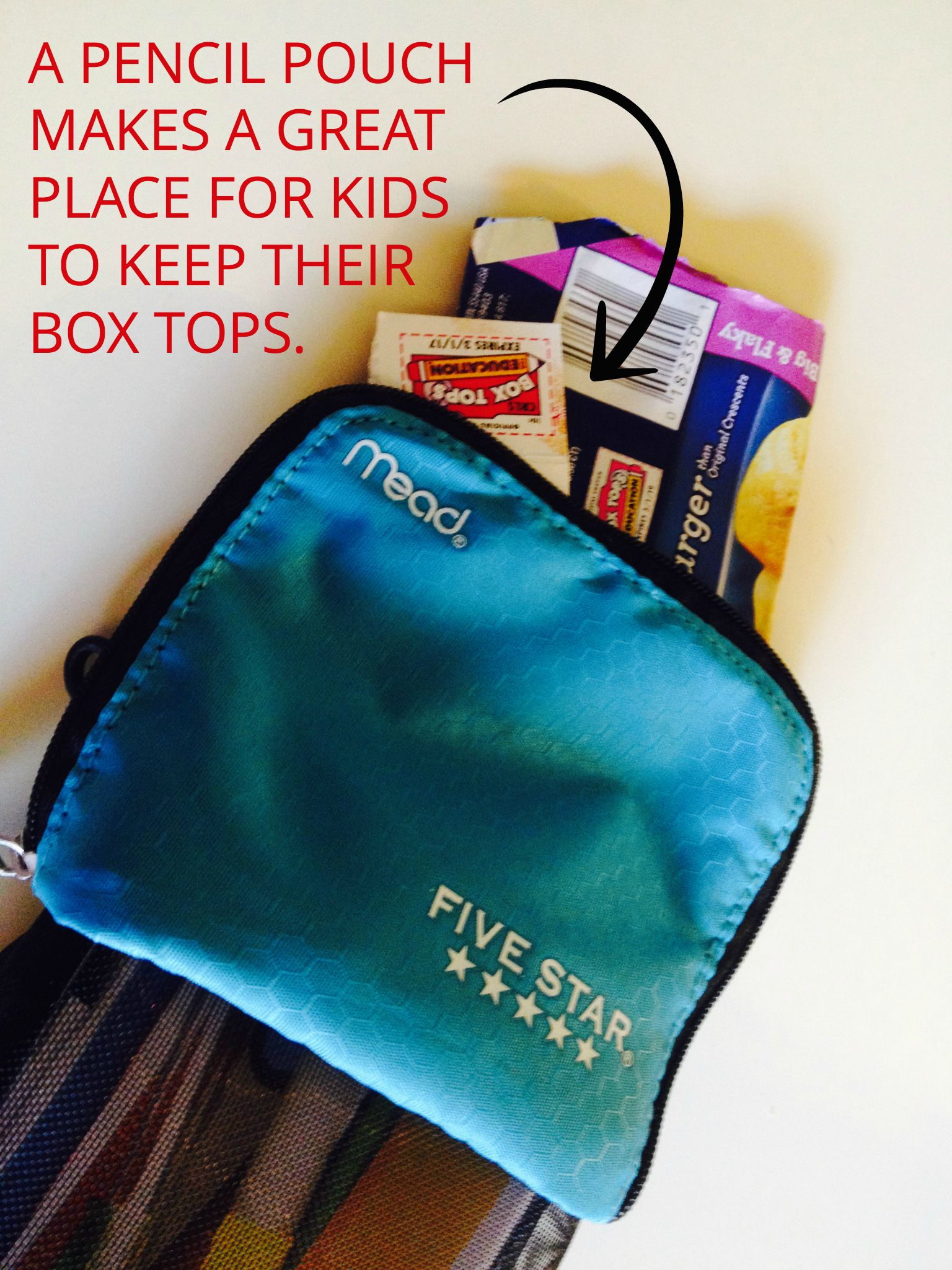 Make collecting and clipping Box Tops your kids' responsibility, so they can be part of a larger effort to support their school. Hint: A pencil pouch is a great way to keep Box Tops until it's time to hand them in.