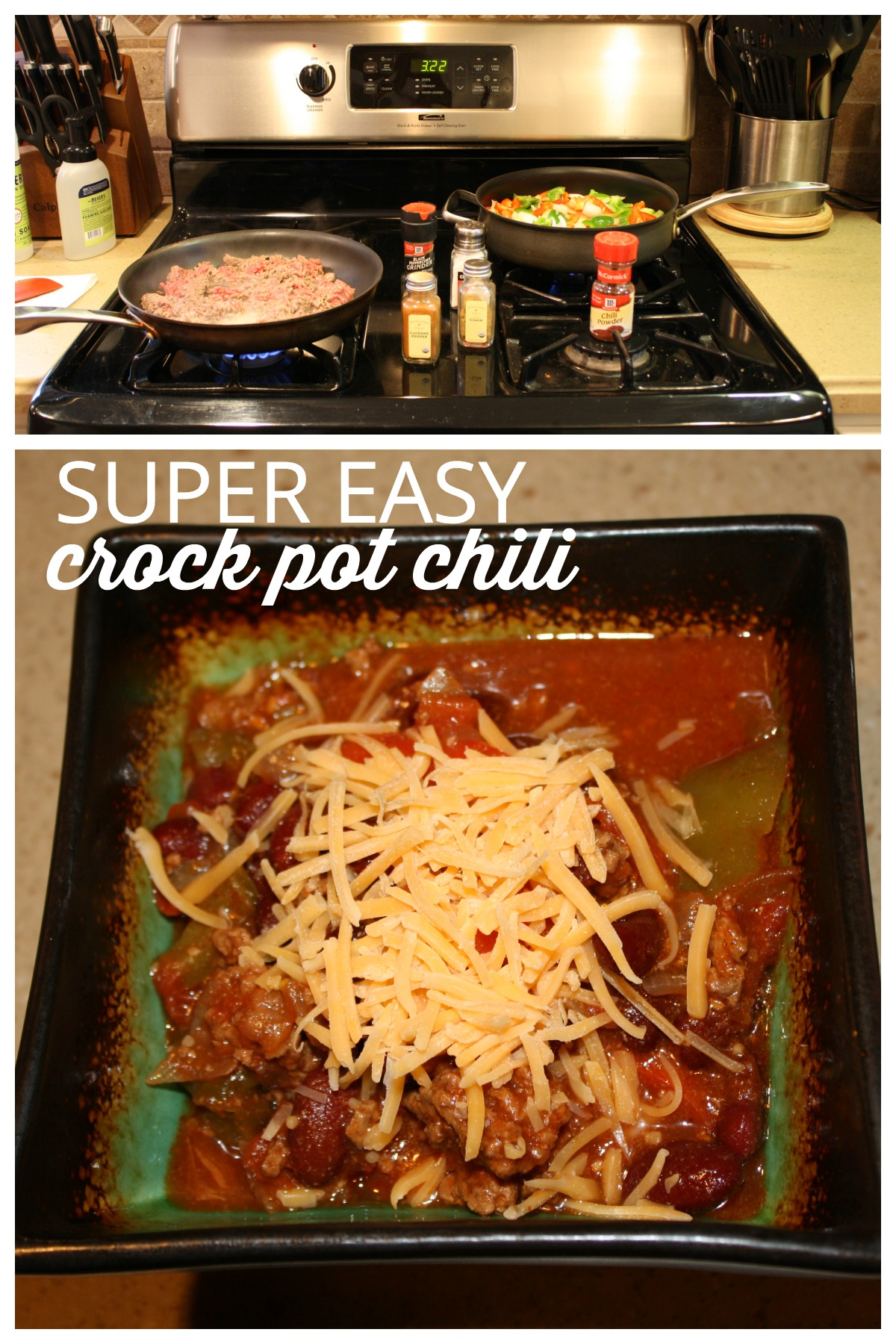 My Crock-Pot is my favorite kitchen gadget and really does save a working mom a lot of time. Here's my favorite easy crock pot chili recipe. Everyone loves this one!