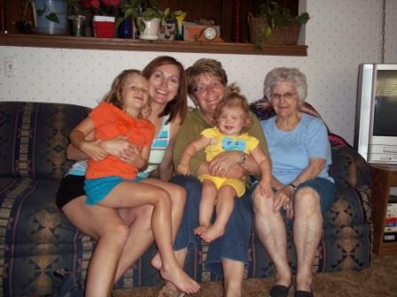 Me and the girls on a previous trip to visit Grandma, who's on the far right