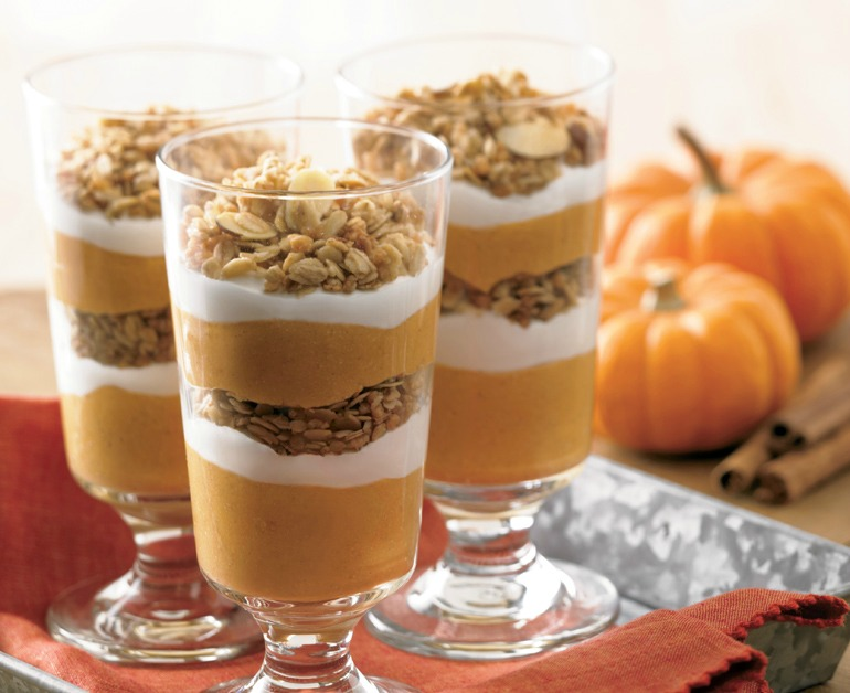 """You can always turn to Pinterest for some """"I need that in my mouth now"""" dessert recipes. This Pumpkin Pie Parfait might just be the easiest you'll ever make. You'll need five ingredients:"""