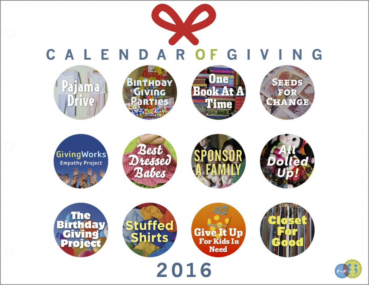"You'll be amazed at how much a ""Calendar of Giving"" can teach children about empathy and generosity of spirit. Click to see ideas for giving as a family in 2016!"