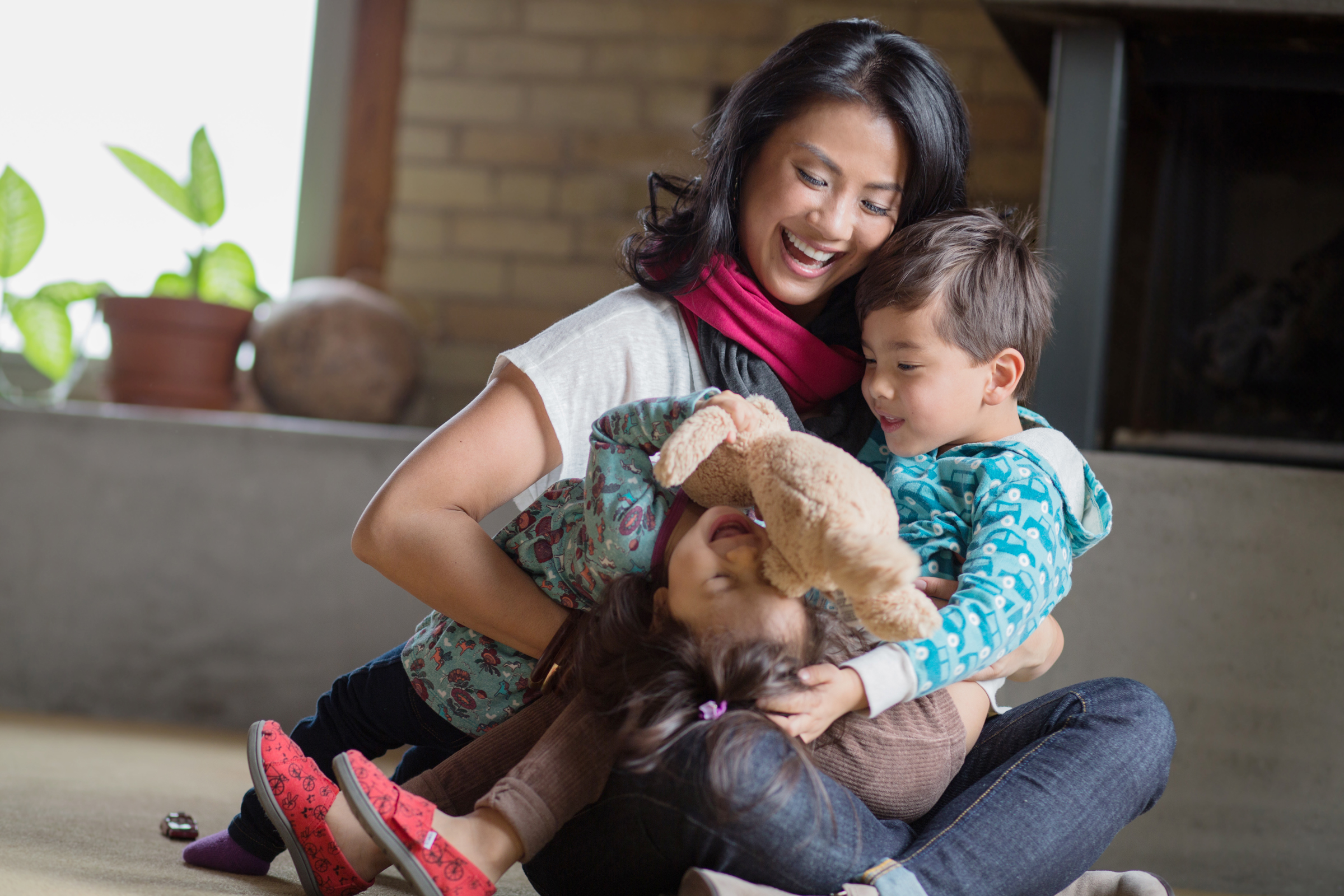 Angela Tsai, inventor of the Mamachic, with her kids
